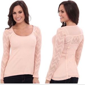 Lucky Brand • Ginny Peach Lace Thermal Top Small